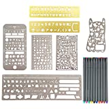 Petift Bullet Journal Stencil Set and Fineliner Color Pen Set for Drawing Painting,Stainless Steel Stencil Template Sets with Web UI/IOS/Number/Alphabet Pecfect for Graffiti,Journaling,Card