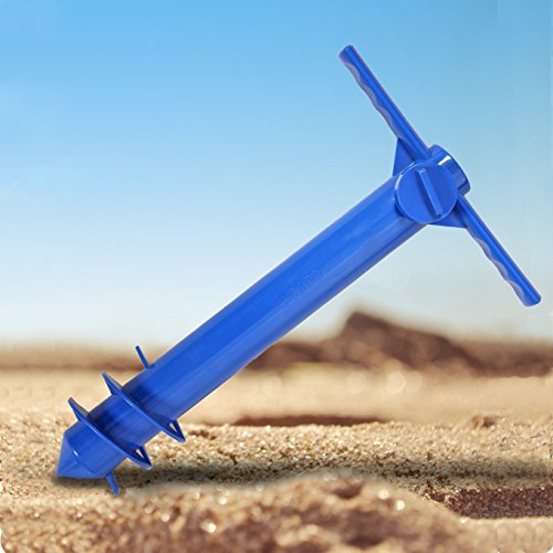 Ammsun Plastic Beach Umbrella Sand Anchor Auger Screw Universal Size Safe Stand for Strong Winds Blue (Patio Strong Umbrella Wind)