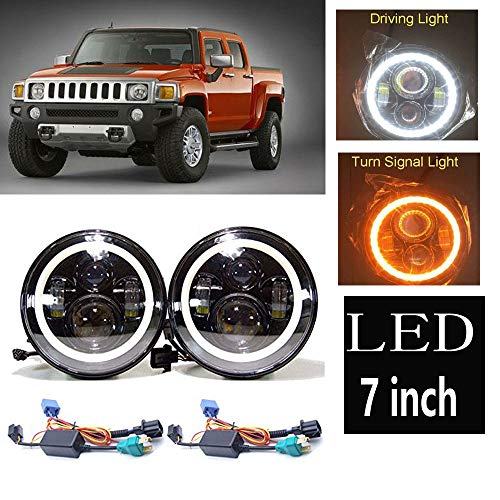 Led Headlight For Hummer H3 H3T H2 H1 LED Halo Angel Eyes DRL Headlight H4-H13 Hi/Lo Beam Lamp (Hummer H2 H3)