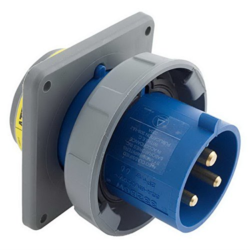 Watertight Pin Wiring (Hubbell Wiring HBL332B6W Watertight Pin and Sleeve Inlet 32 Amp 220 - 240 Volt AC 2-Pole 3-Wire Blue)