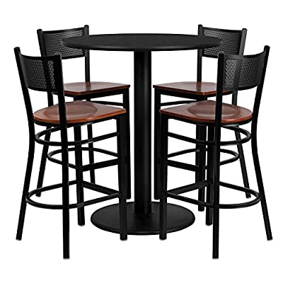 Flash Furniture 36'' Round Black Laminate Table Set with 4 Grid Back Metal Bar Stool - Cherry Wood Seat [MD-0018-GG]