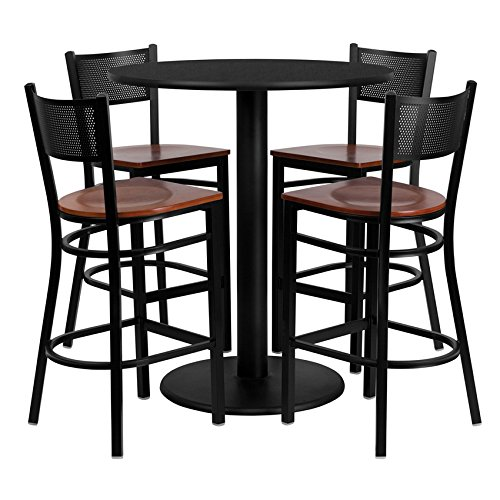 Flash Furniture 36'' Round Black Laminate Table Set with 4 Grid Back Metal Bar Stool - Cherry Wood Seat - Pub 36' Set