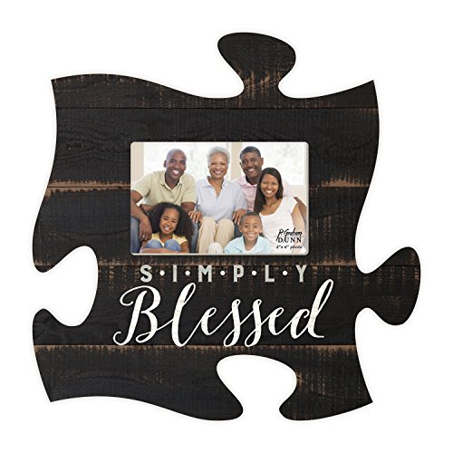 P. GRAHAM DUNN Simply Blessed Black Distressed Wood Look 4 x 6 Wood Puzzle Wall Plaque Photo Frame ()