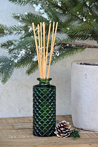 (Manu Home Holiday Sale Holiday Forest Pine Reed Diffuser Set- Includes Beautiful Green Glass and Two Sets of Sticks. Green and Natural~ 5.5 oz ~ Made in The USA!)