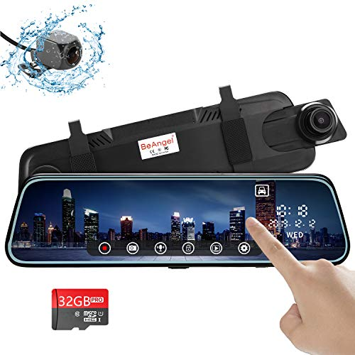 "10 Inch Touch Screen Car Camera 10"" Rearview Mirror FHD 1080P Dash DVR Cam Backup Camera Night Vision Front and Rear Dual Lens Video Recorder Reversing"