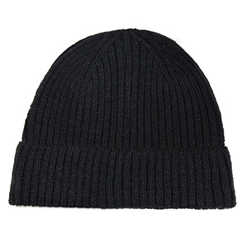 Refaxi Black Unisex Winter Warm Slouchy Cap Ski Skull Hats Knit (Cable Knit Reversible Hat)
