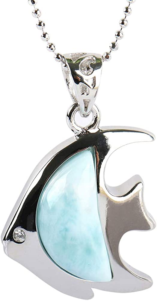 Tuoke Chic - Collar con colgante de plata de ley 925 con forma de pez larimar y piedras preciosas de color azul y chapado en oro blanco de 14 quilates y cadena de 45,7 cm