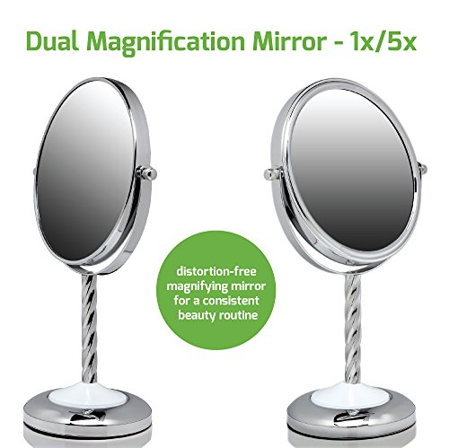 Ovente Round Tabletop Vanity Mirror, 7 Inch, Dual-Sided with 1x/5x magnification, Chrome-Plated Iron, Chrome (MNLBT70CH1X5X) by Ovente (Image #3)