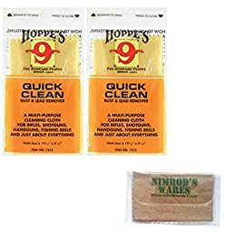 2-PACK Hoppe\'s Quick Clean RUST & LEAD Remover Cloths 1215 + Nimrod\'s Wares Microfiber Cloth