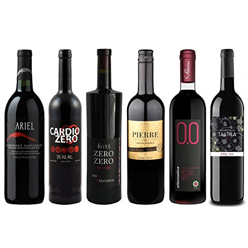 Red Wine Sampler - Six (6) Non-Alcoholic Wines 750ml Each - Featuring Ariel Cabernet Sauvignon, Cardio Zero Red, Zero Zero Deluxe Red, Grande Reserve Rouge, Rosso Dry and Tautila (Cabernet Sauvignon Chocolate Wine)