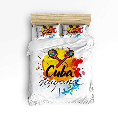 (King 4 Piece Bedding Set for Girls Boys Children Adult, Cuba Havana Illustrations of Humanities Duvet Cover Set Ultra Soft and Easy Care Sheet Quilt Sets with Decorative Pillow Covers)
