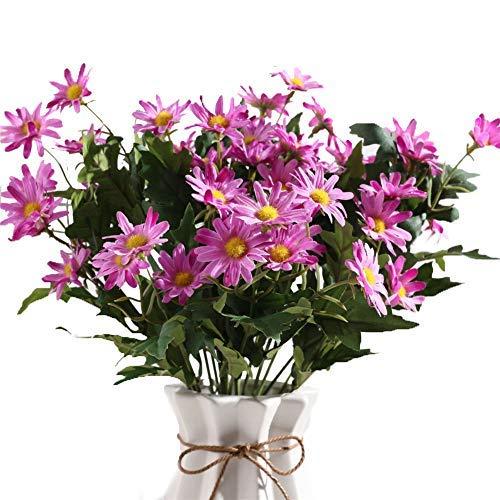 Gumolutin 2 PCS Artificial Silk Daisy Flower Bouquet for Home Table Centerpieces Arrangement Decoration, Purple