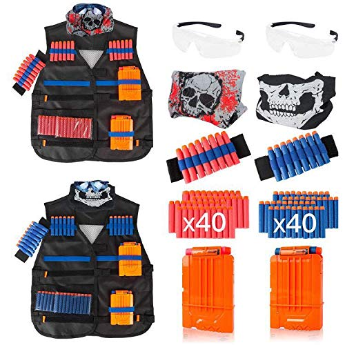 Vastaint Tactical Vest Kits for Nerf Gun and Strike Elite Series with 2 Pack Wrist Bands, Quick Reload Clips, Protective Glasses,40 Bullets and 2 Face Tube Mask for Kids (Team A and Team B)