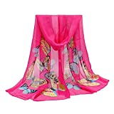 ManxiVoo Women Butterfly Print Scarf Lightweight Long Chiffon Wrap Shawl Scarves for Summer Autumn (Hot Pink)