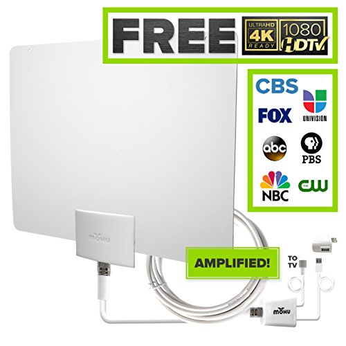 Amplified Indoor Hdtv Antenna (Mohu Leaf 50 Indoor HDTV Antenna, Amplified, 60 Mile Range, Original Paper-thin, Reversible, Paintable, 4K-Ready, 16 Foot Detachable Cable, Premium Materials for Performance, USA Made, MH-110599)