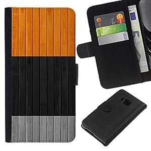 WINCASE Cuadro Funda Voltear Cuero Ranura Tarjetas TPU Carcasas Protectora Cover Case Para HTC One M9 - colores limpios negro gris naranja gris