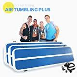 Popsport 0.9Mm PVC Inflatable Tumbling Mat Air Tumbling Track Gymnastics Mat Air Track Gymnastics with Air Pump for Home Use and Training