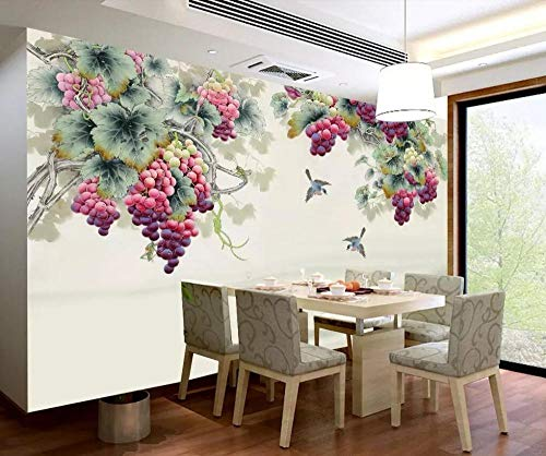 jiahuade-3d Wallpaper murals Chinese Style Pen Hand-Painted Purple Fragrance Grape TV Background Wall painting-250cmX175cm