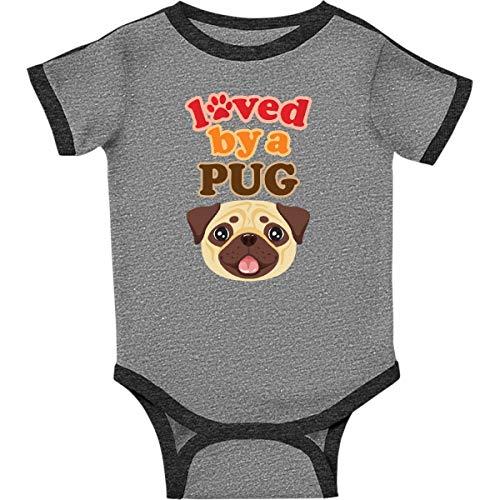 (inktastic - Pug Dog Infant Creeper 18 Months Ringer Heather and Smoke 35fa0)