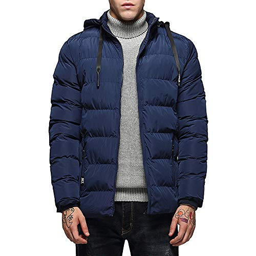 Men's Autumn Winter Casual Pocket Zipper Cotton Hoodie Thermal Top Coat Big and Tall by Allywit (Image #6)