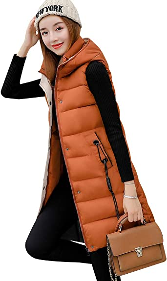 Womens Gilets Long Hooded Quilted Gilet Vest Ladies Body Warmer Zip Up Parka Sleeveless Jacket Outwear