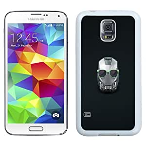 Easy use Cell Phone Case Design with Iron Man Helmet Summer Glasses Galaxy S5 Wallpaper in White
