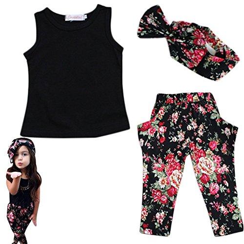 YING LAN Baby Girls Kids Clothing Set Outfits Tops Pants Headwear 12-24 - Usa Shopping Sites
