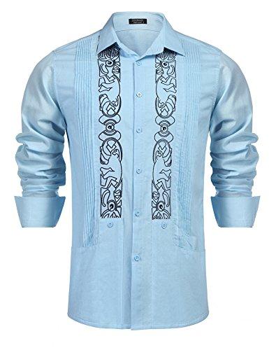 COOFANDY Mens Long Sleeve Embroidered Guayabera Cuban Shirt Casual Button Down Shirt,Blue,Small