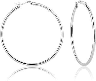DTPsilver - Boucles d'oreilles Femme Créoles en Argent Fin 925 - Épaisseur 3 mm, Diamètre 60 mm