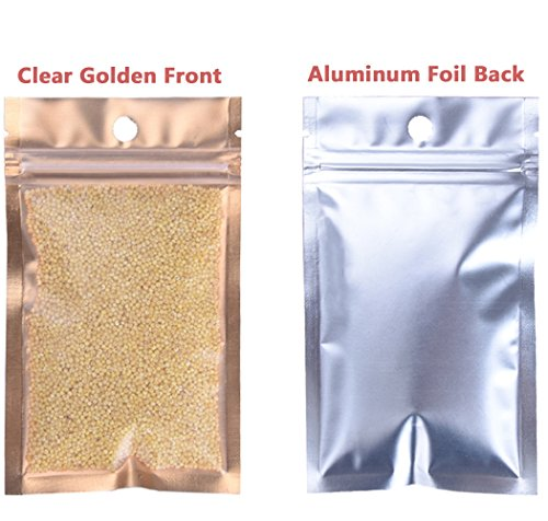 Wekoil Mylar Bags Zip Lock Clear Golden Front Aluminum Foil Wrapper Bags Resealable Packaging Storing Zipper Pouches Bulk Food Saver Lined Grip Wrap 10cmx18cm/4 x7,Pack 100 Bags. by Wekoil (Image #4)