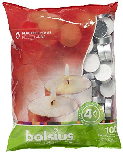 Bolsius - Velas para Interiores y Exteriores, duracion 4 Horas, 16x 38mm, 100Unidades, Color Blanco