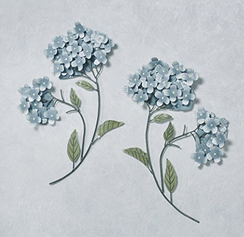 - T.i./New Metal Design Blue Hydrangea Wall Sculptures Set of Two