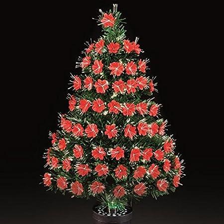 80cm Fibre Optic Red Poinsettia Petal Tabletop Christmas Tree - 80cm Fibre Optic Red Poinsettia Petal Tabletop Christmas Tree