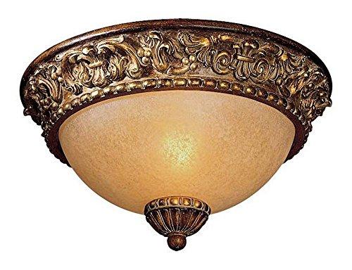 Minka Lavery Flush Mount Ceiling Light 960-126, Belcaro Round Glass Fixture, 1 Light, 60 Watts, Walnut