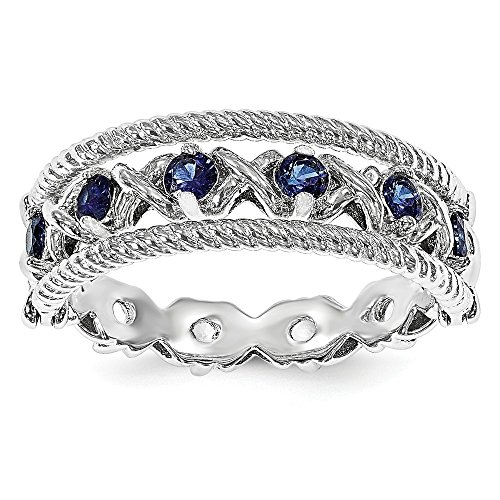 Sterling Silver Stackable Ring Solid Stackable Expressions Created Blue/White Sapphire Flip Ring