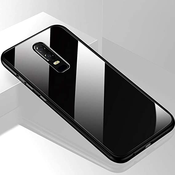 the latest e5442 22dc6 TheGiftKart Luxurious Toughened Glass Back Case with Shockproof TPU Bumper  Compatible for One Plus 6 (Black)