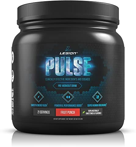 Legion Pulse Pre Workout Supplement – All Natural Nitric Oxide Preworkout Drink to Boost Energy Endurance. Creatine Free, Naturally Sweetened Flavored, Safe Healthy. Fruit Punch, 21 Servings