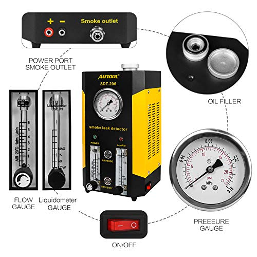 AUTOOL SDT-206 Automotive EVAP Leaks Testing Machine, 12V Vehicle Pipes Fuel Leakage Detector Diagnositc Tester for Car/Motorcycles/Boat (Newest Dual Modes) by AUTOOL (Image #2)