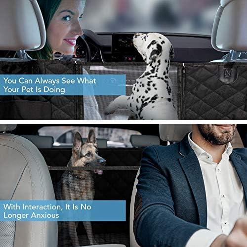 Funda protectora para asiento trasero de perro 900D con malla de visualización y bolsillo de almacenamiento, resiste agua y antiarañazos para protección del asiento trasero, para todo tipo de vehículo 4