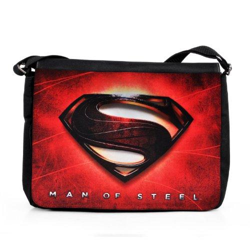Superman - Borsa tracolla - Porta documenti - Man of Steel - LUomo dAcciaio - Stampa del logo in rosso