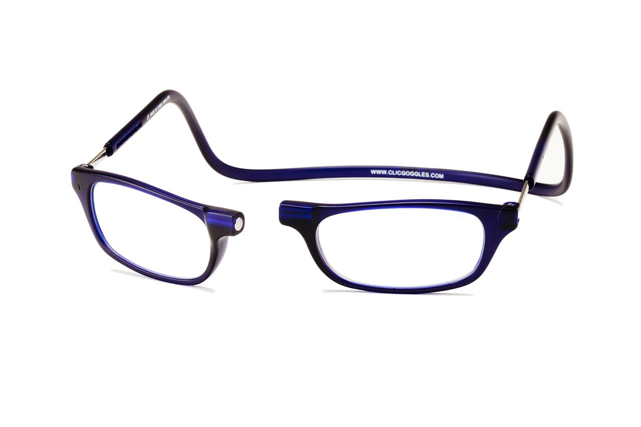 Clic Magnetic Reading Glasses in Frosted Matte Blue +2.75