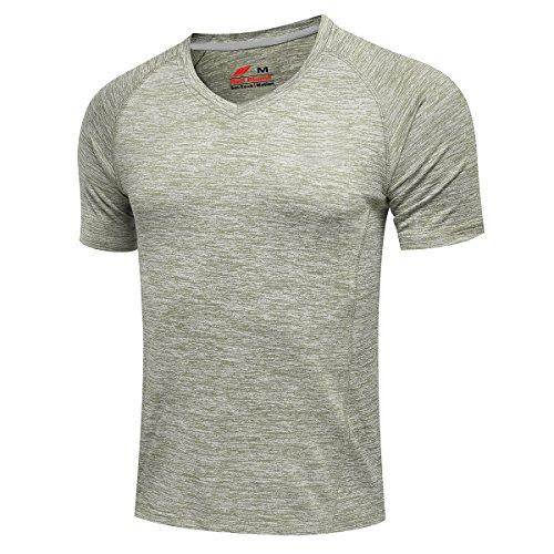 Red Plume Men's Compression Armour Shirt Original Cloth Sports V-neck T-shirt (M, Light Grey)