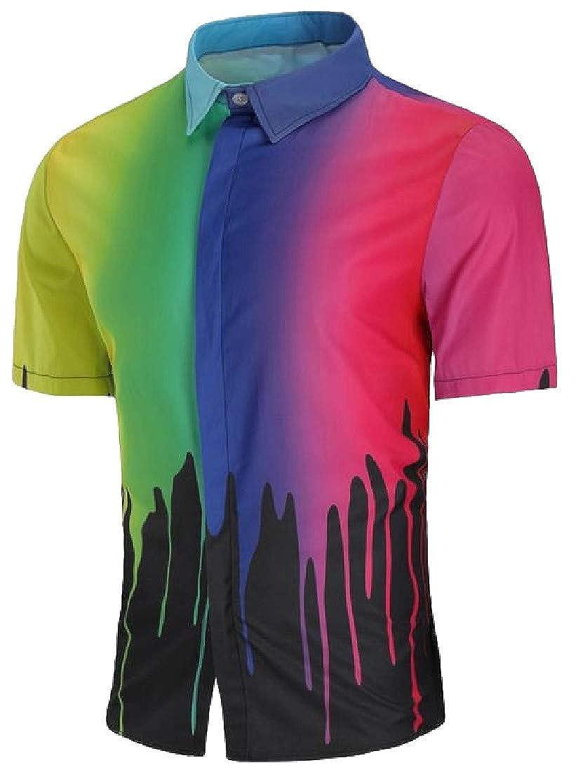 pipigo Mens Ombre Summer Splashing-Ink Lapel Neck Button Down Shirts