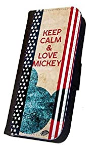 iPhone 6 PLUS Flip Case, Keep Calm and Love Mickey Design, Wallet Case, Book Style Case, Bi-Fold Case, By Sublifascination