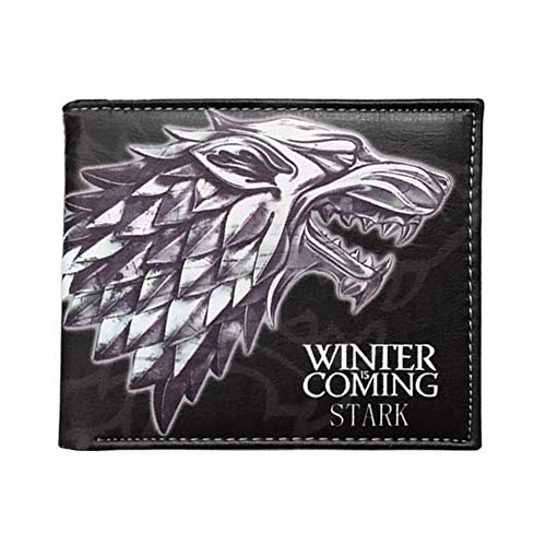 OCARLY Dire Wolf Logo Sigil Wallet PU Leather Direwolf Mark Purse Winter Is Coming Family Tag House Badge Totem Wallet for Collectors and Fans