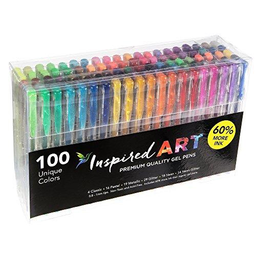 -[ Gel Pen Set for Colouring Art - 100 Unique Colours (No Duplicates) Superior Quality, Free Flowin