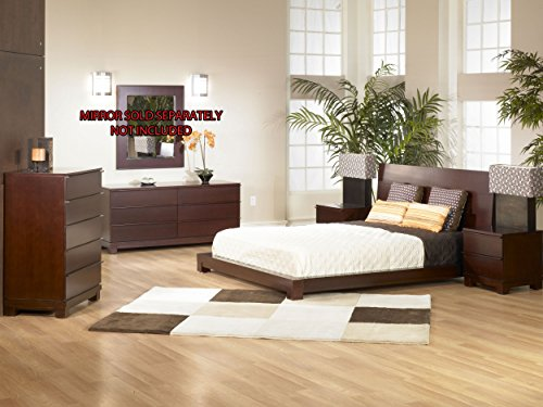 Southport Mahogany Finish Solid Wood Platform Bedroom 5PC Set (Bed, 2-N/S, Dresser, Chest) (Queen) (Mahogany Set Dresser)