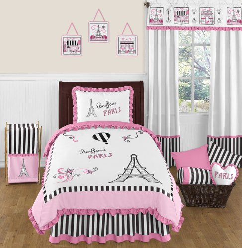 Childrens and Kids Wall Decal Stickers by Sweet Jojo Designs Black and White Paris French Eifell Tower Baby Pink Set of 4 Sheets B00NLOELZ2