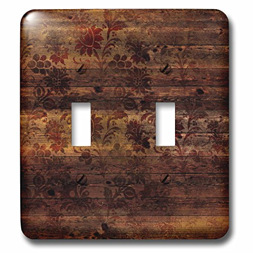 3dRose Anne Marie Baugh - Patterns - Rustic Art Deco Floral On Faux Printed Brown Wood - Light Switch Covers - double toggle switch (lsp_283369_2)