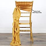 Efavormart Tableclothsfactory 5pcs Chiffon Gold Curly Chair Sashes For Home Wedding Birthday Party Dance Banquet Event Decoration